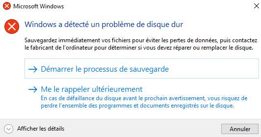 windows detecte probleme disque dur